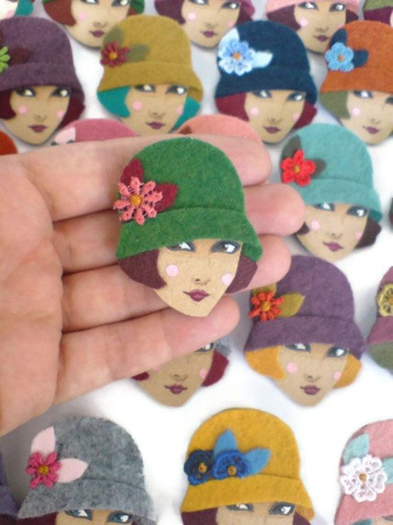 charming little handpainted felt brooches by yalipaz- have one of these and i love it