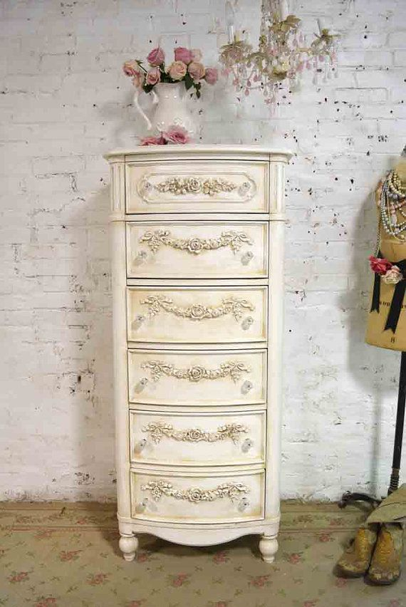 Painted Cottage Chic Shabby Lingerie Chest by paintedcottages