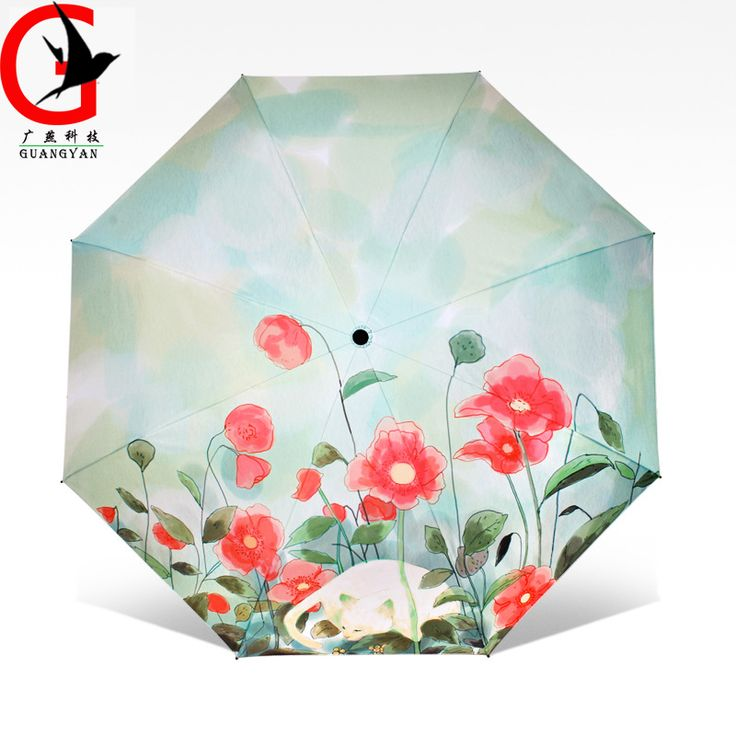 Creative cat black coating umbrella Anti-UV rain sun umbrella Student 4 fold sunny fashion oil painting umbrella  TQ-4