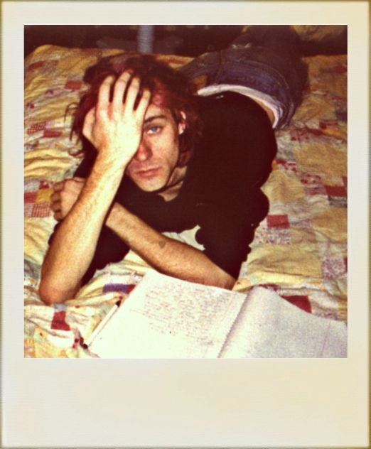 Kurt Cobain writing his journal at home, Spaulding Avenue in Los Angeles, CA, US. 1992
