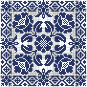 Blue tile | Chart for cross stitch or filet crochet.