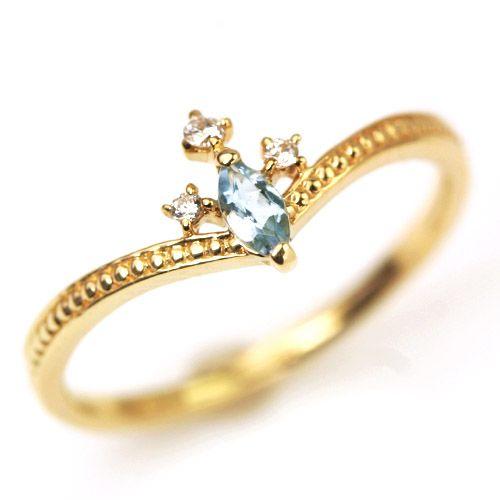 アクアマリン ダイヤモンド カラーゴールドピンキーリング レディース 指輪・マリリン 3月の誕生石 お守り ファランジリング ミディリング 関節リング 華奢 シンプル ファッションリング 可愛い ゆびわ ジュエリー クリスマス