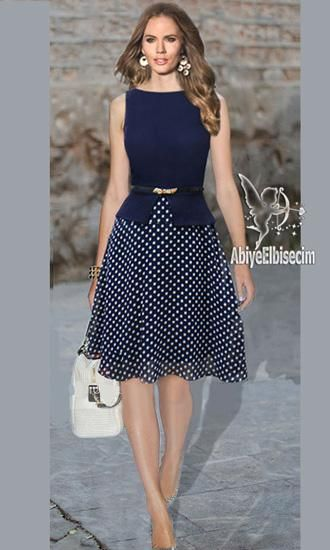 bayan elbise puantiyeli şifon elbise,bayan elbise,elbise modelleri,şifon elbis…