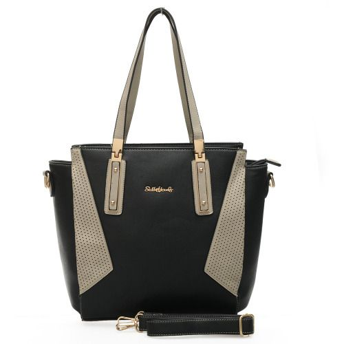 Black - Sally Young Patchwork Women's Handbag Fashion Metal Handle Detail Winged Women Bag £21.99
