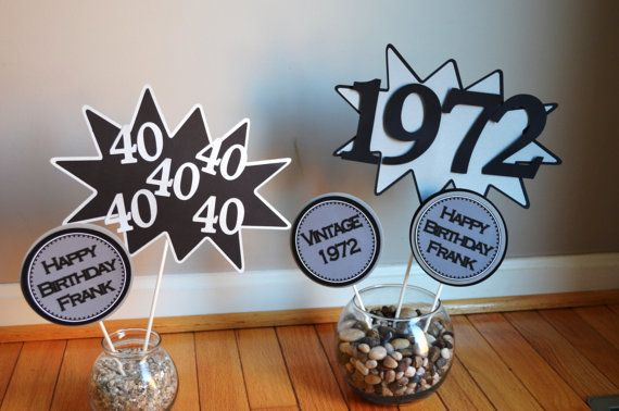 40th 50th 60th Birthday Centerpiece Vintage 1973 1963 1953 On Etsy 25 75 Party Ideas Pinterest Centerpieces