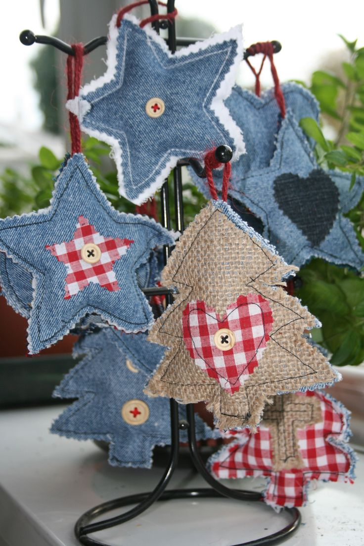 homemade denim Christmas tree decorations:  I have a PILE of old jeans that we can cut up to make stars and hearts!