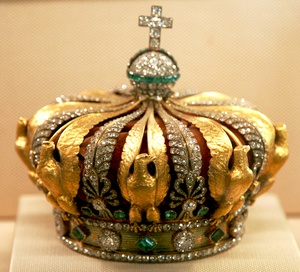 Though most of the French Crown Jewels were sold by the French Third Republic in 1885, the Crown of Empress Eugénie was kept and is on display in the Louvre museum in Paris.