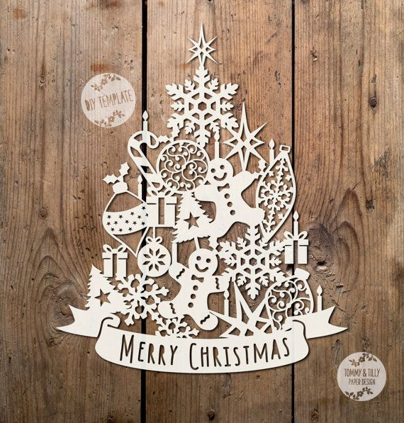 SVG / PDF Assorted Christmas Tree Design - Papercutting / Vinyl Template to cut yourself (Commercial Use)
