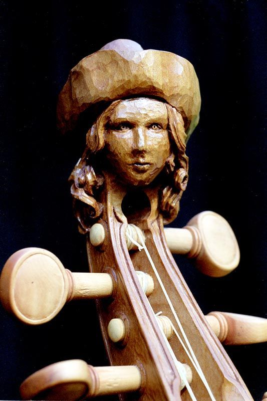 2002 Floris, head for treble viol, pear wood
