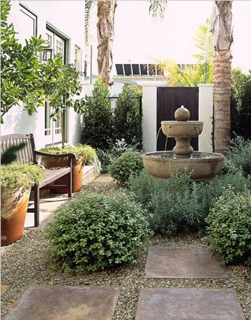 Tiny garden with beautiful fountain garden ideas pinterest for Urban garden design ideas