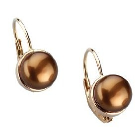 14K Yellow Gold Freshwater Cultured Dyed Chocolate Pearl Lever Back Earring.
