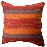 Housse de coussin rouge coton artisanaux issu du commerce équitable Motif à rayures 60x 60cm