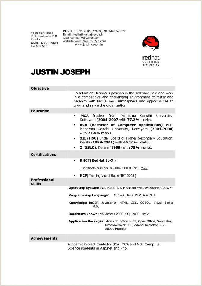 Bca Fresher Resume Format Pdf In 2020 Resume Format For