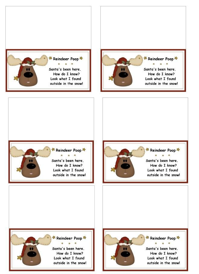 reindeer poop bag toppers - printables