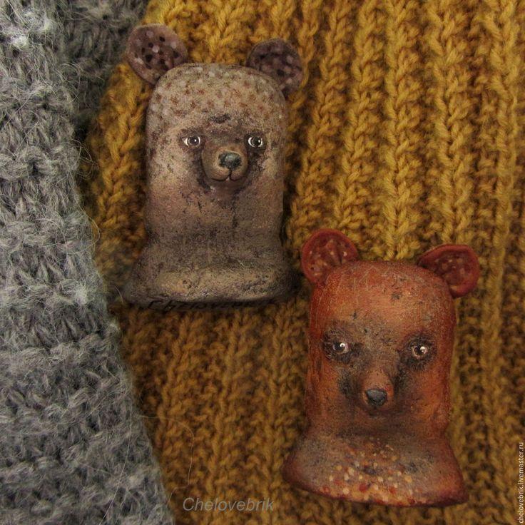 Купить Мишки-Брошки - коричневый, медведь, мишка, брошка, папье маше, человебрик, подарок девушке