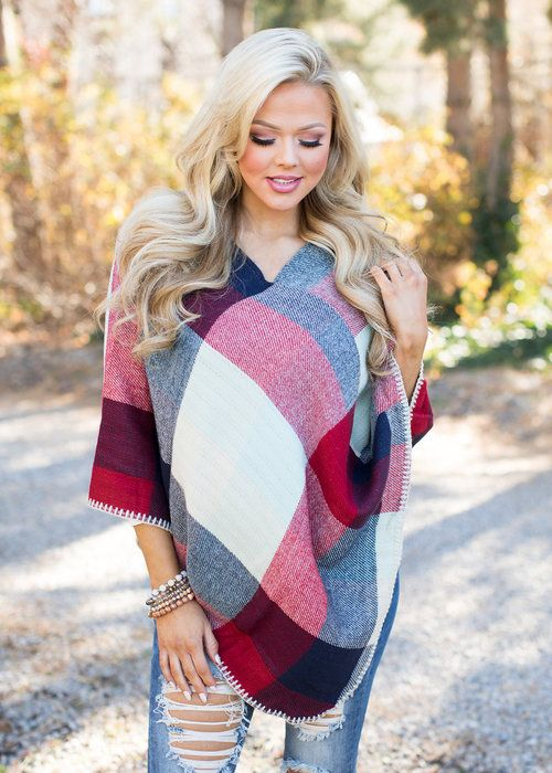 Colorful Plaid Holiday Shawl - Modern Vintage Boutique