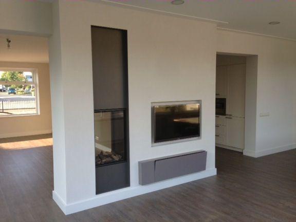 verticale tunnelhaard met stalen kader en tv nis open haarden pinterest tvs and met. Black Bedroom Furniture Sets. Home Design Ideas