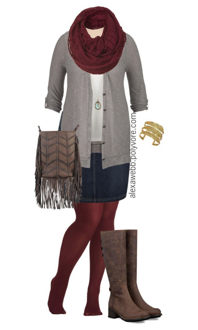 "** Love this ""Plus Measurement - Fall Denim Skirt"" by alexawebb ❤ appreciated on Polyvore feat..."