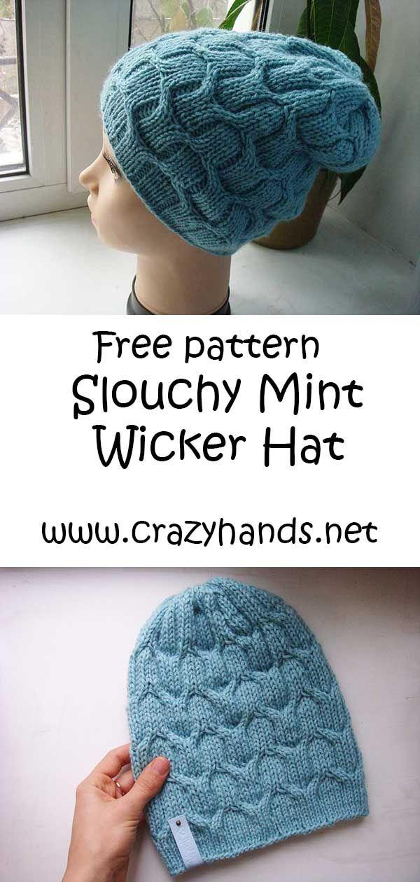 11ba6798354 Free Knit Pattern  Slouchy Mint Wicker Adult Hat  Knithat  Adultknit ...