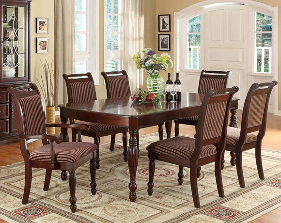 Savoy Ii Collection Espresso Dining Set Includes Table And Four Side Chairs Combining A Rich Upholstery Deep Finish This Piece Is
