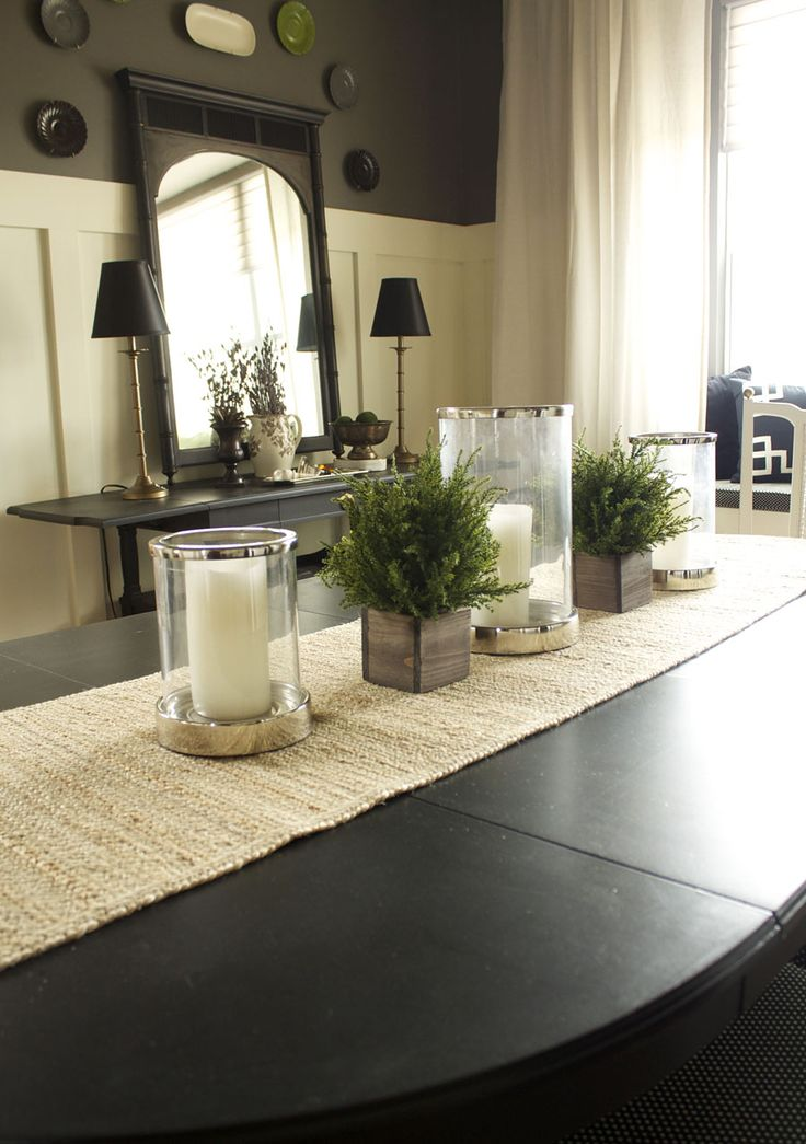 like this centerpiece for a dining room table. . . The Dining Room | House to Your Home    Board and batton added.