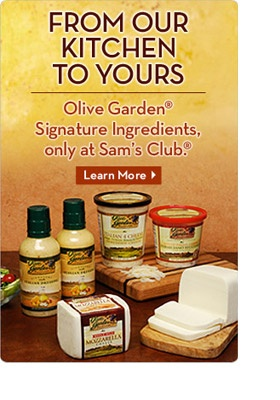 You can now get Olive Garden drssing and grated cheese at Sam's Club...Yummy!!!