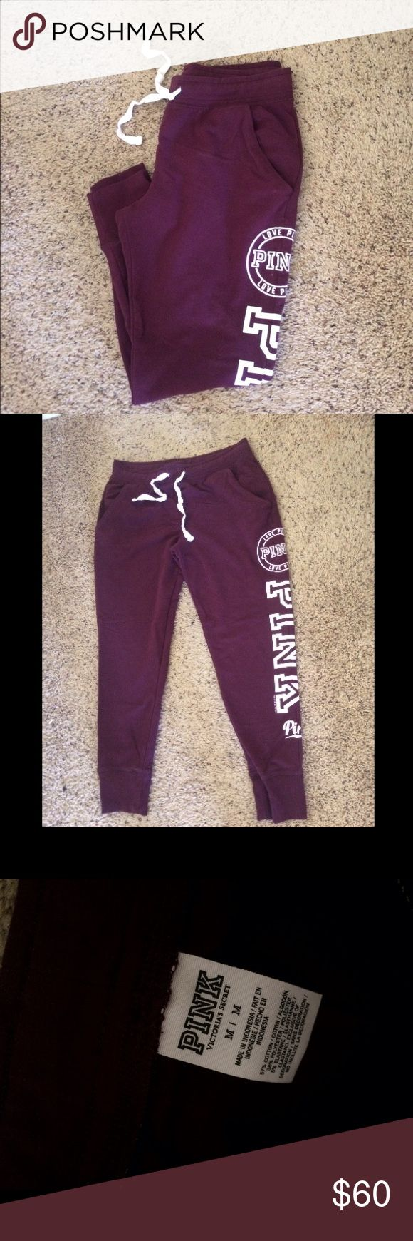 VS Pink Burgundy / Maroon Joggers Victoria's Secret PINK maroon jogger sweat pants with white detail. Two pockets and drawstring waistband. NWOT NO TRADES Victoria's Secret Pants Track Pants & Joggers