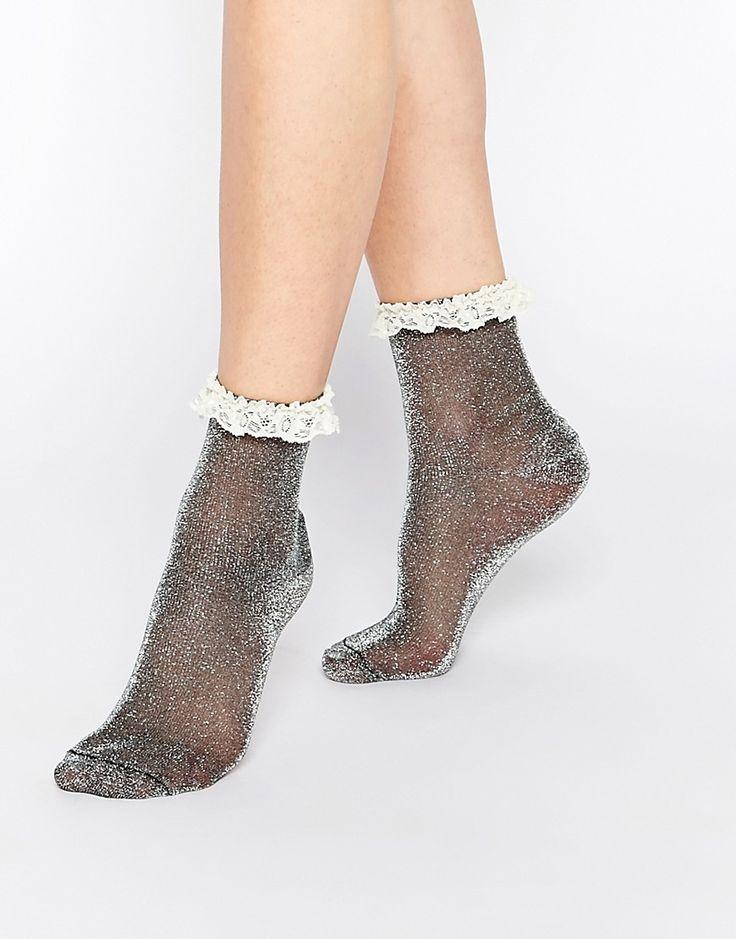 Image 1 ofASOS Glitter Lace Trim Ankle Socks