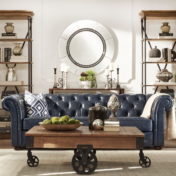 TRIBECCA HOME Knightsbridge Navy Blue Bonded Leather Tufted Scroll Arm Chesterfield Seating
