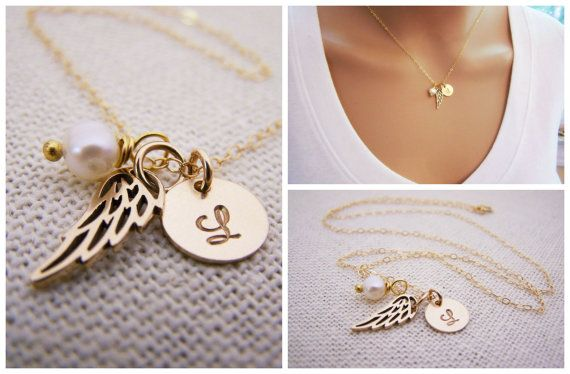 Personalized Angel Wing Necklace - Custom Initial - 14k Gold Filled Monogram - Gold Necklace - Wing Charm - Memory Necklace