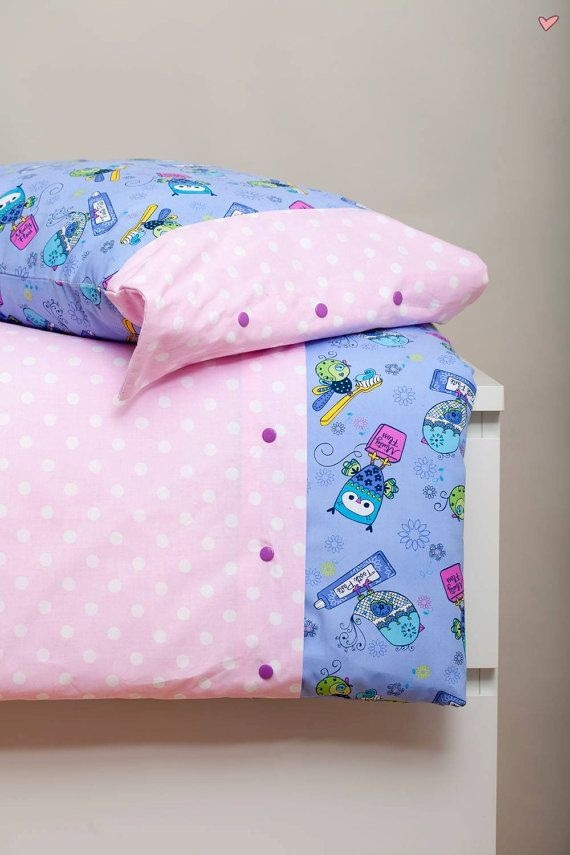 This gorgeous colorful bedding set includes:  1 duvet cover and 1 pillowcase (custom size). Bedding set is made from highest quality cotton (100 %), so is perfect even for allergic kids. Bedding and buttons crafted by hand. This is why it is unique and full of love!  The duvet cover has buttons in front, so it will be easy to put duvet inside. Sleep tight!
