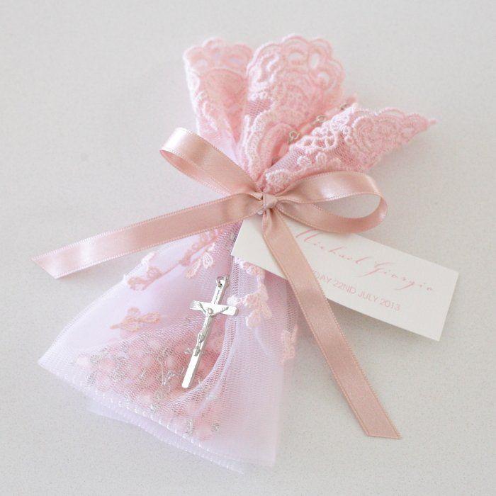 Cordón rosado Bolsa Rosarios bautizo Bomboniere