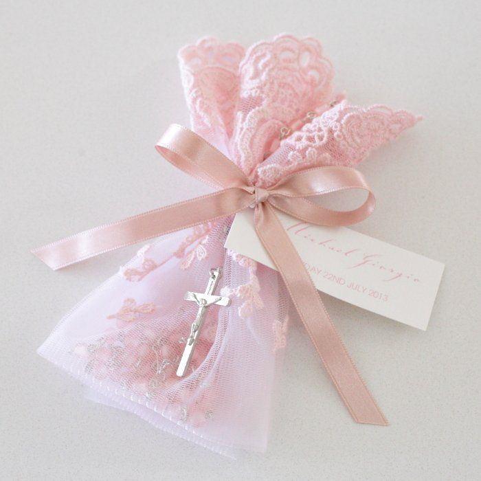 pink lace bag rosary beads christening bomboniere baptism pinterest bags baptisms and. Black Bedroom Furniture Sets. Home Design Ideas