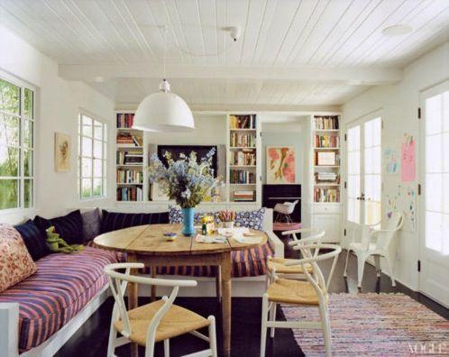 A dining nook: corner sofa and a wood tableDecor, Kitchens, Dining Room, Breakfast Nooks, Interiors, Living Room, Diningroom, House, Amanda Peet