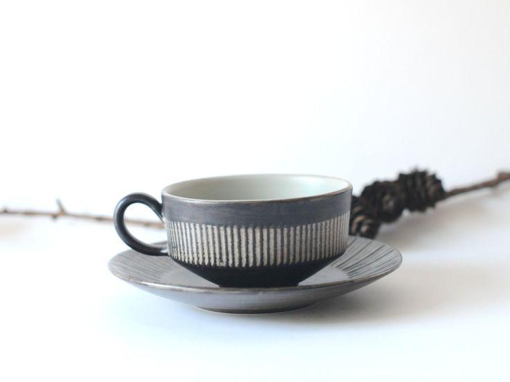 Amazonas Cup & Saucer - Jette Helleroe design for BR. Modern Danish Studio ceramic. Scandinavian modern by FridasVintage on Etsy