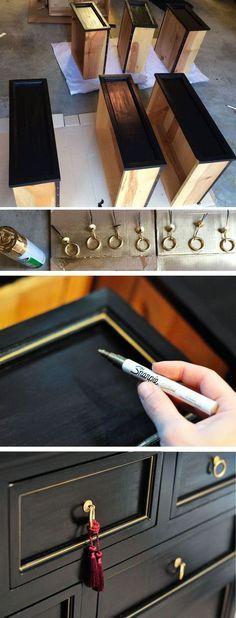 Dresser makeover Deep grey chalk paint and brass rubnbuff?