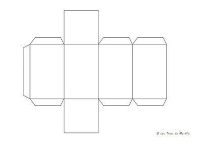 gabarit pour une bo te rectangulaire de 5 x 5 x 8 cm imprimer sur une feuille cartonn e de 21. Black Bedroom Furniture Sets. Home Design Ideas