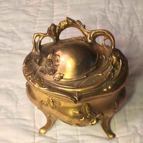 Inizio secolo ottone Jewelry Box, artigianali d