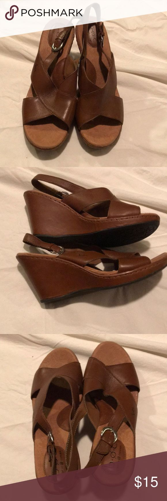 Brown leather wedges Brown leather wedge sandals. Never worn b.o.c. Shoes Wedges