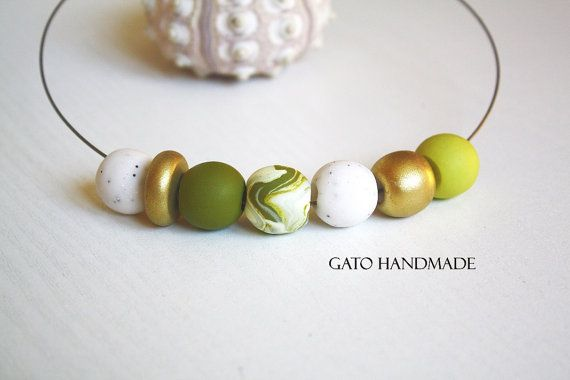 Unique handmade necklace curated with polymer clay by GATODesign