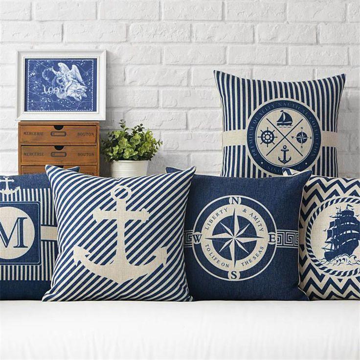 Anchor Pillow Cover Marine culture Throw Pillowcase Sailor's memory Cotton linen Cushion Cover for Sofa Bedroom Home Decorative - 10 MINUS