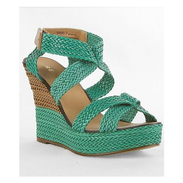 Report Brinkley Sandal ($21) ❤ liked on Polyvore featuring shoes, sandals, turquoise wedge sandals, platform wedge shoes, wedges shoes, platform wedge sandals and turquoise wedge shoes