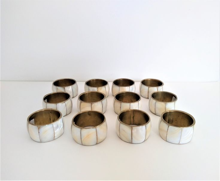12 Brass Mother Of Pearl Napkin Holders | Vintage Brass Napkin Holders | Mother Of Pearl Holders