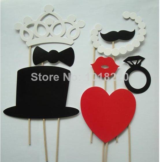 1 set 7 piezas photo booth vasos apoyos el bigote del labio palo en la fiesta de bodas de cumpleaños diversión