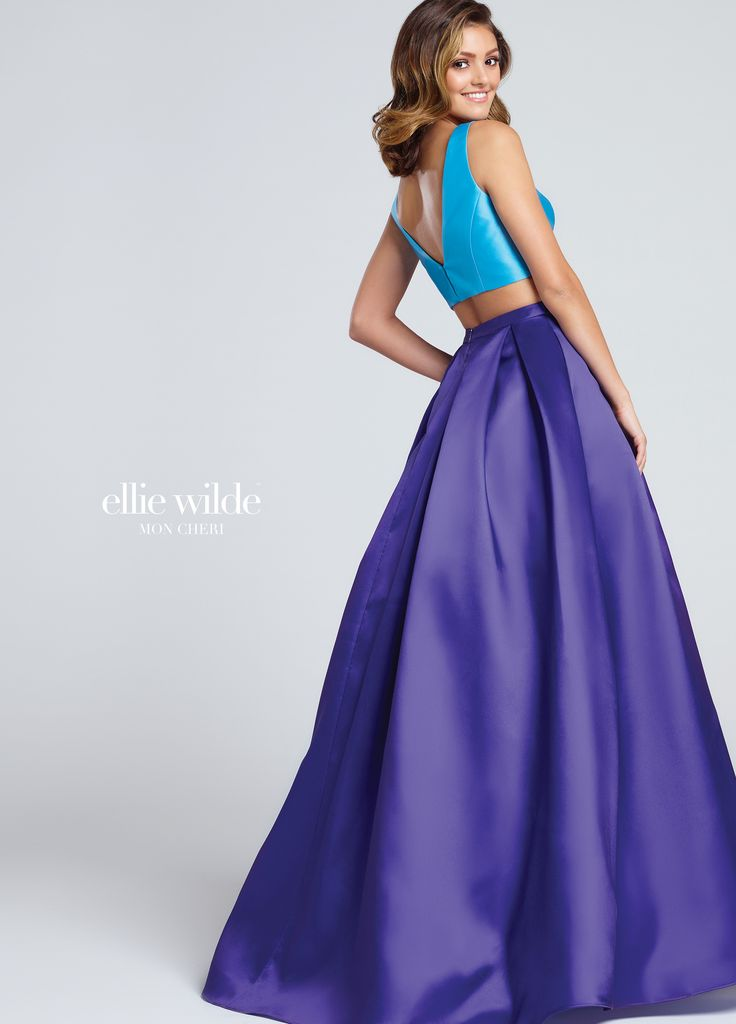 Ellie Wilde EW117009 - Two-piece Mikado dress set, sleeveless cropped top with Sabrina neckline and deep V-back, contrasting box pleated full A-line skirt with side pockets. Also comes in Pink/ Hot Pink #SS17 #Prom2017  http://www.wvlavishboutique.com @Lavish