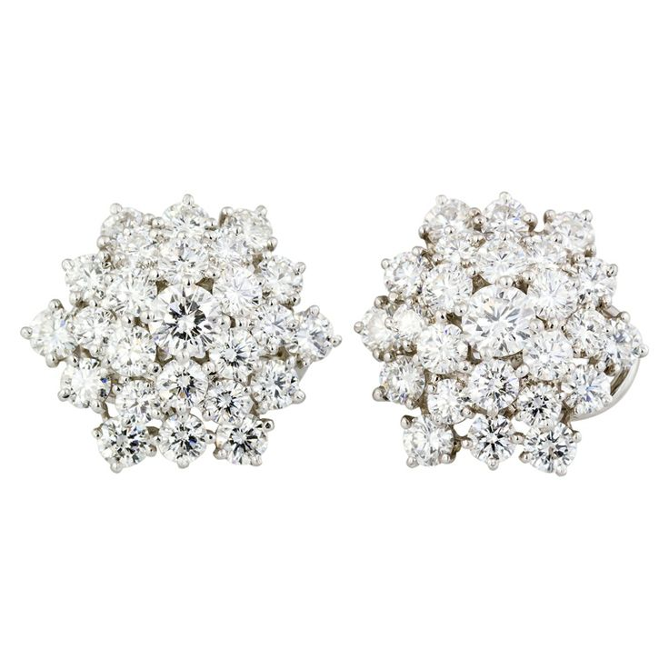 OSCAR HEYMAN Diamond Platinum Snow Flake Earrings: Clip On Earrings, Snowflakes, Heyman Diamonds, Platinum Snow, Flakes Earrings, Snow Flakes, Diamonds Platinum, Oscars Heyman, Jewelry Earrings