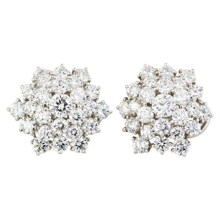 OSCAR HEYMAN Diamond Platinum Snow Flake Earrings