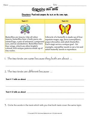Worksheet | Comparing Two Texts | Read and compare two different texts on butterflies.