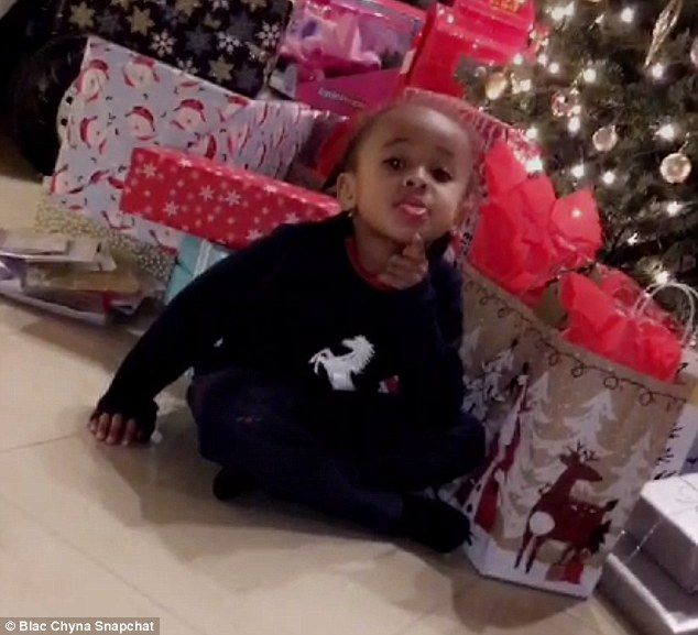 Present time! King Cairo, 4, the son of Blac Chyna and Tyga opened some presents early