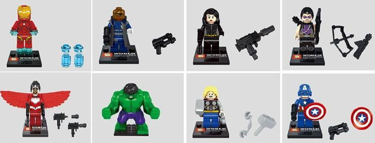 8 шт. строительные блоки чудо супер герои мстители капитан америка тор иром человек черная вдова халк мини-фигурки игрушки